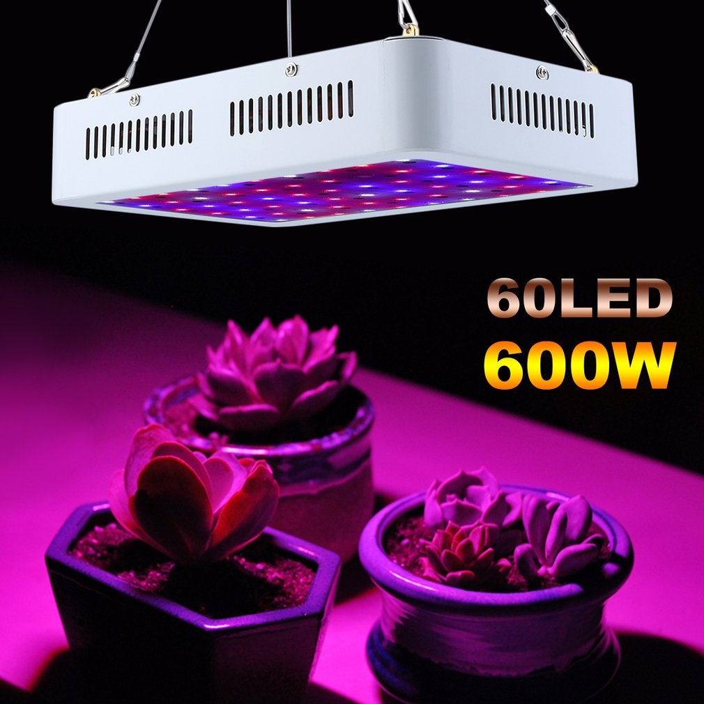 Portable 600W Double Chip LED Plant Grow Light Full Spectrum Fluorescent Lamp 85-265V Promoting Grow Bloom Light EU Plug
