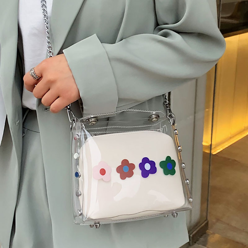 ETAILL Transparent PVC Clear Crossbody Bag Tote Women Candy Jelly Scarf Composite Solid Small Shoulder Bags