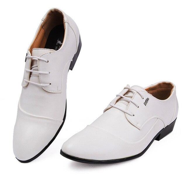 f763610dbfe Charol blanco Zapatos de Los Hombres de la Marca de Negocios Oxfords de Los Hombres  Zapatos