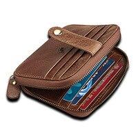 Genuine Leather Vintage Men ID Credit Card Holder RFID Blocking Women Zipper Purse Business Card Holder