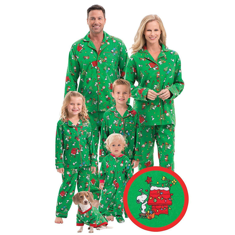 Family Matching Christmas Printing Pajamas Set Women Men Baby Kids Sleepwear Nightwear