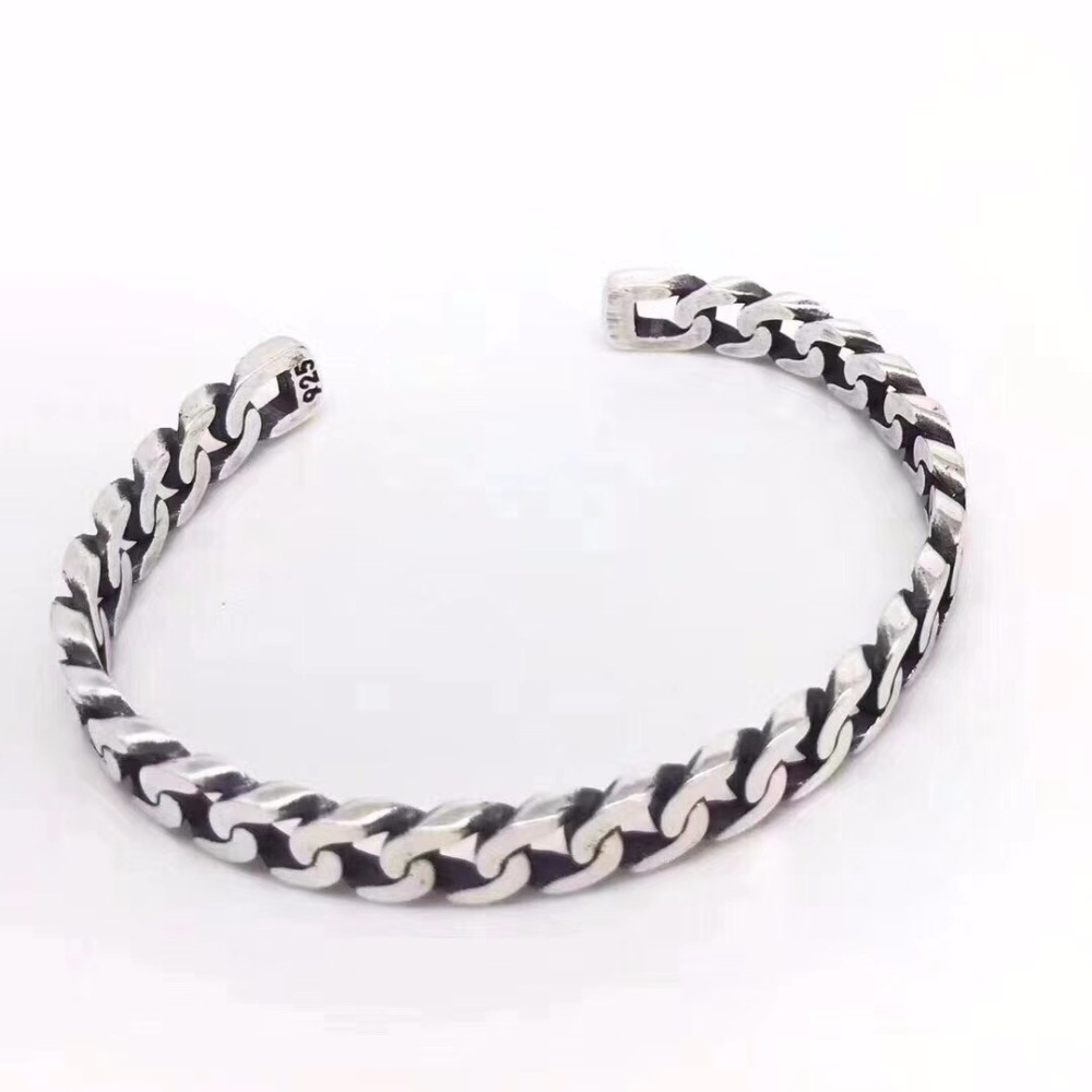 SOQMO 925 Sterling Silver Bangle Men Jewelry Weaving hollow Opening Indian Bracelet Bangle Women Gift Fine Jewelry SQM053 soqmo men women bracelet 100