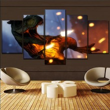 Home Canvas Wall Art Movie Jurassic World Decor Living Room Modern Picture 5 Pieces Paintings