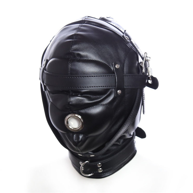 New Red/Black Leather Bondage Hood Fetish Mask Adult Games Restraints Slave BDSM Harness Headgear Sex Toys For Couples Products black bondage harness leather belt open mouth gag cover mask slave bdsm restraints adult games fetish sex toys for woman