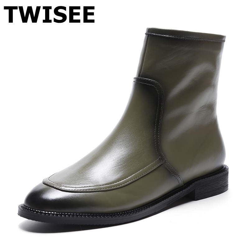 TWISEE ankle boots Snow Boots Women's Shoes Ladies Female Plush Winter Fur Rubber Genuine Leather Lace Up Flats ankle boot 2017 cow suede genuine leather female boots all season winter short plush to keep warm ankle boot solid snow boot bota feminina