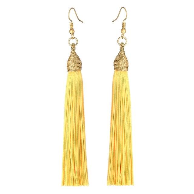 LOVBEAFAS 2018 New Long Tassel Earrings For Women Boho Drop Dangle Fringe Earrings Silk Fabric Vintage Statement Fashion Jewelry