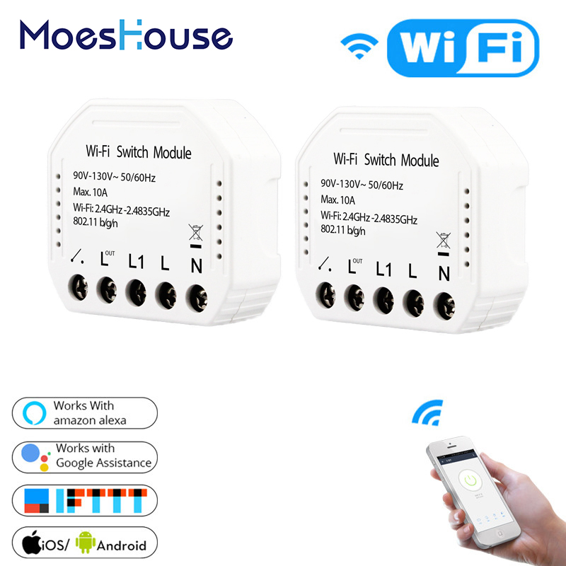 90V-130V 2 Pcs Wifi Smart Light Switch Diy Breaker Module Smart Life/Tuya APP Remote Control,Works With Alexa Echo Google Home