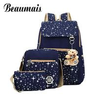 TMYOY 4 Colors Backpacks Brand 3 Pieces Sets Women Backpack Star Printing Canvas School Bags Teenager