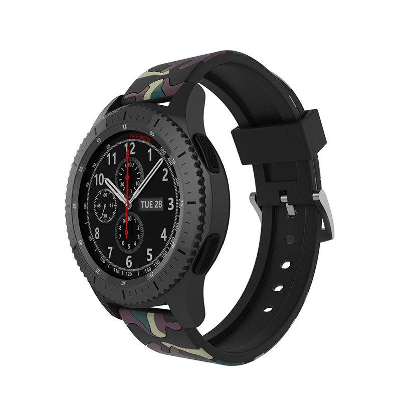 FOHUAS Camo watch band For Samsung Gear S3 22mm Steel Buckle Wrist luxury brand New Fashion Sports Silicone Bracelet Strap jansin 22mm watchband for garmin fenix 5 easy fit silicone replacement band sports silicone wristband for forerunner 935 gps