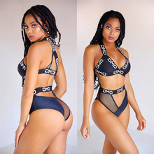 Women Swimsuit Two Pieces Letter Sexy Mesh Bikinis Push Up 2019 Mujer Swim Bikini Set Thong Swimwear Separate Bathing Suit