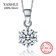 YANHUI 100% Original 925 Sterling Silver Necklace Wedding Crystal Jewelry Natural Round 1.5ct ...