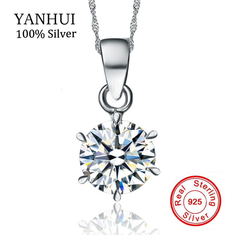 Yanhui 100% original 925 collar de plata esterlina boda joyería cristalina natural ronda 1.5ct 7mm CZ ZIRCON COLLAR COLGANTE N6