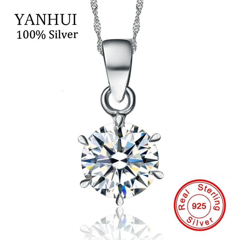 Yanhui 100% original 925 collar de plata esterlina boda joyería cristalina natural ronda 1.5ct 7mm CZ ZIRCON COLLAR COLGANTE N6