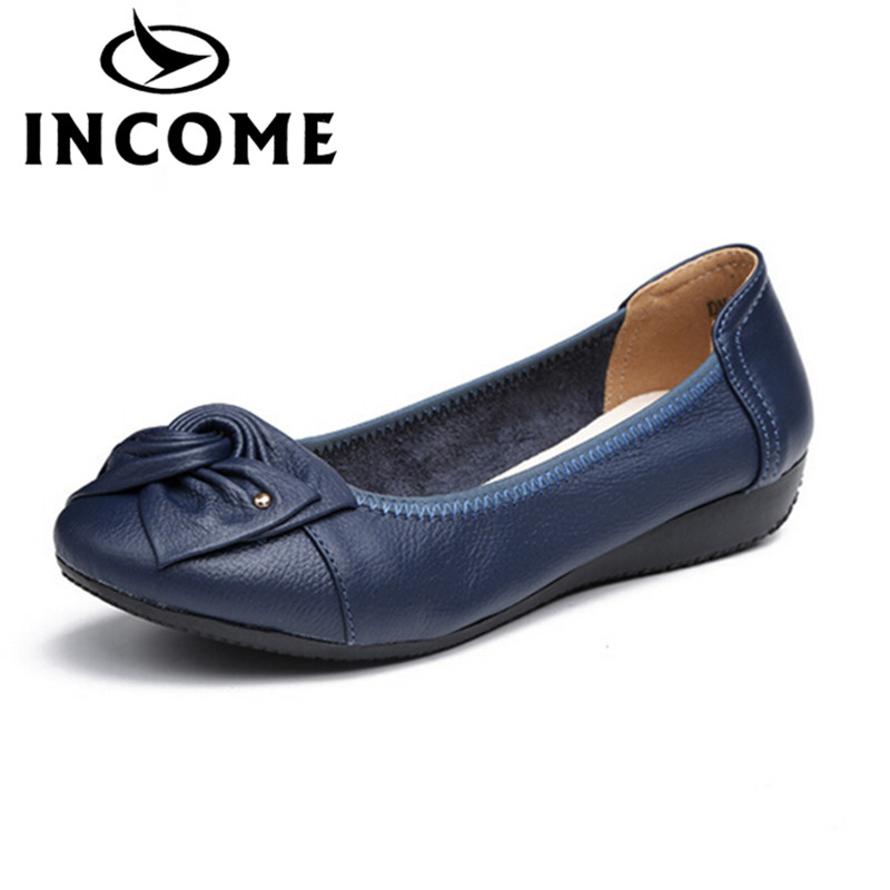 INCOME Handmade genuine leather ballet flat shoes women female casual shoes women flats slip on leather car-styling flat shoes land tenure housing and low income earners