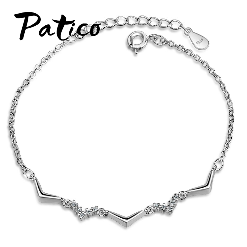 patico factory direct sale fashion bracelets 925 sterling silver women simple lovely birthday