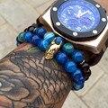Natural de Ágata Pulseira de Homens, Banhado A Ouro Batman 8 MM Amizade Elástico Elegante Azul Beads Charme Pulseiras Pulseiras Mulheres