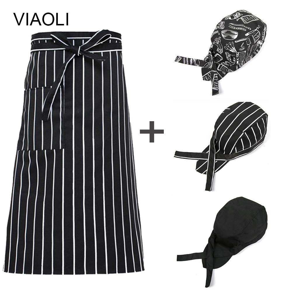 Viaoli Restaurant Kitchen Apron Adjustable Half Body Male Adult Apron Striped Hotel Chef Waiter Short Kitchen Cooking Apron +hat