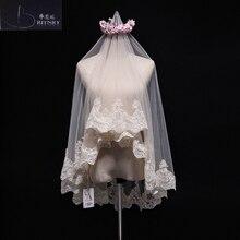 Veu دي noiva العاج الشمبانيا الزفاف الحجاب الرباط حافة الزفاف الحجاب