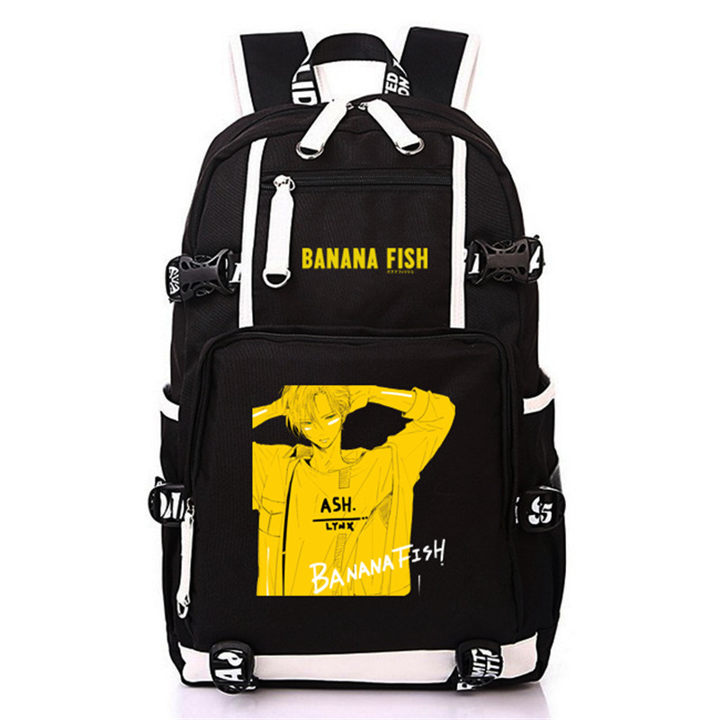 Image 2 - Anime BANANA FISH Canvas Back Pack Cosplay School Bags Anime Laptop Backpack Unisex Travel Backpack Women Shoulder Bags-in Backpacks from Luggage & Bags