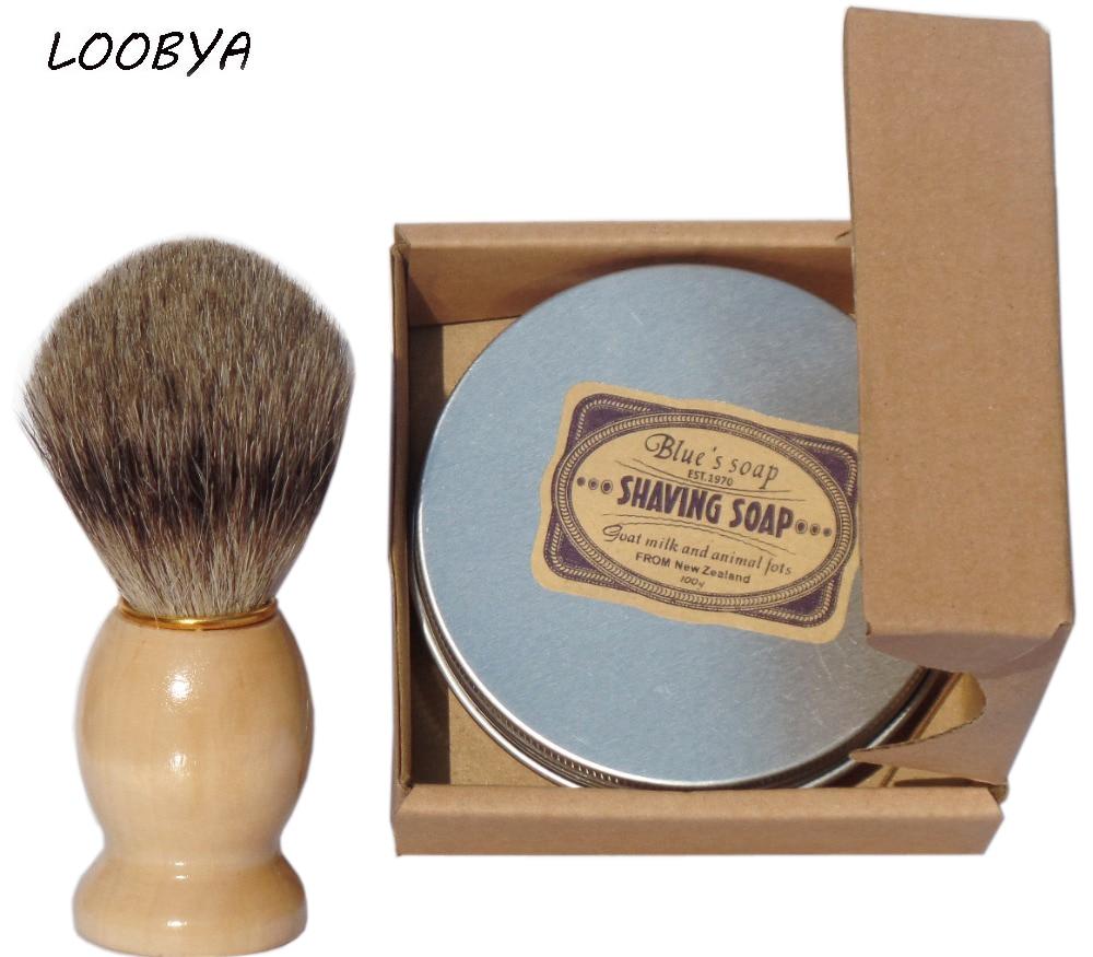 2pc/set Natural Goat's Milk Shaving Soap Cream with Badger Shaving Brush