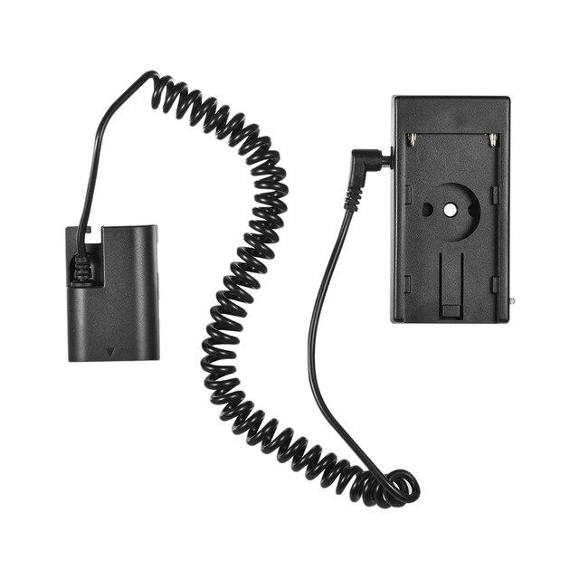 """Andoer NP F970 à NP FW50/EN EL15/LP E6 câble de ressort dadaptateur de plaque de montage de batterie factice avec vis de 1/4"""""""