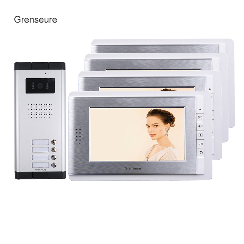 FREE SHIPPING Brand 7 inch Video Door Phone Intercom System 4 Monitor + 1 HD Doorbell Camera for 2 Household Apartment Wholesale brand new apartment intercom entry system 3 monitor 7 hd color video door phone doorbell intercom system 3 houses free shipping