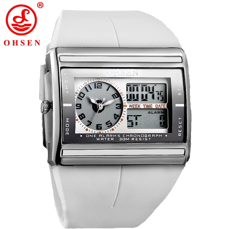 2016 Fashion Square Electronic LED Watch OHSEN Brand Dual Digital And Analog Men's Alarm Sport Quartz Wristwatch GIFT AD0518 wholesale free shipping china custom plastic cool light fashion big mens boy waterproof led alarm electronic digital watch