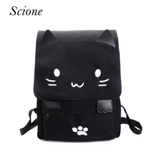 Lovely Cat Printing Backpacks Women School Cut Cartoon Embroidery Canvas Shoulder Bags Casual Girls Rucksacks Mochilas 130273