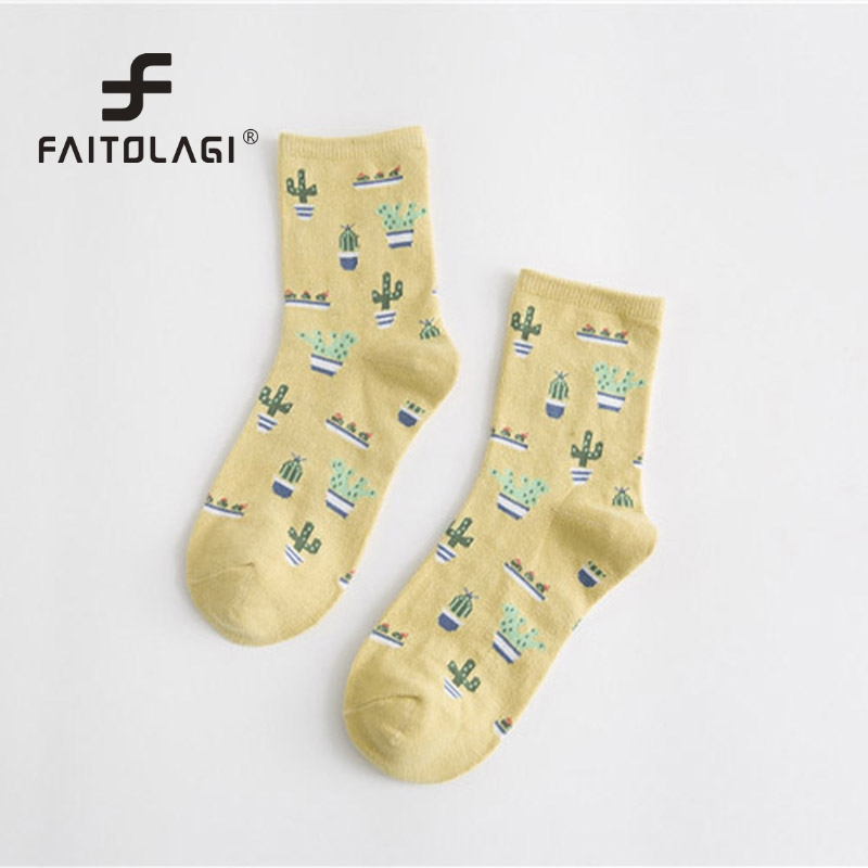 Cartoon Plant Cactus Pattern Socks  Girls Comfortable Cute Cotton Casual Soft Socks sokken Warm Short Women Socks meias