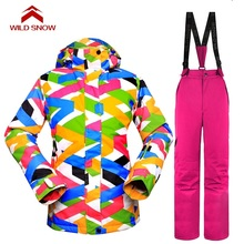WILD SNOW Women Ski Suit Windproof Waterproof Outdoor Sport Wear female Camping Riding Skiing Warm Snowboard Ski set недорого
