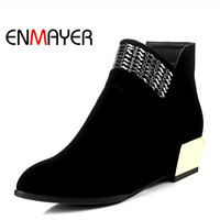 ENMYAER Autumn Dating Wedge Heel Ankle Boots High Quality Pointed Toe Black Red Shoes For Women