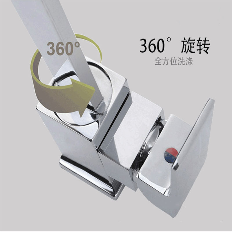 Yieryi Elbow Rotating Dish Hot and Cold Water Faucet Double Vertical Heightening Kitchen Faucet Kitchen Ware Ceramic Valve Core