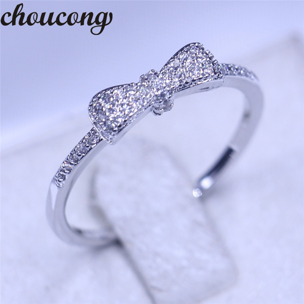 choucong Bow Style Women ring Pave set AAA zircon Cz 925 ...