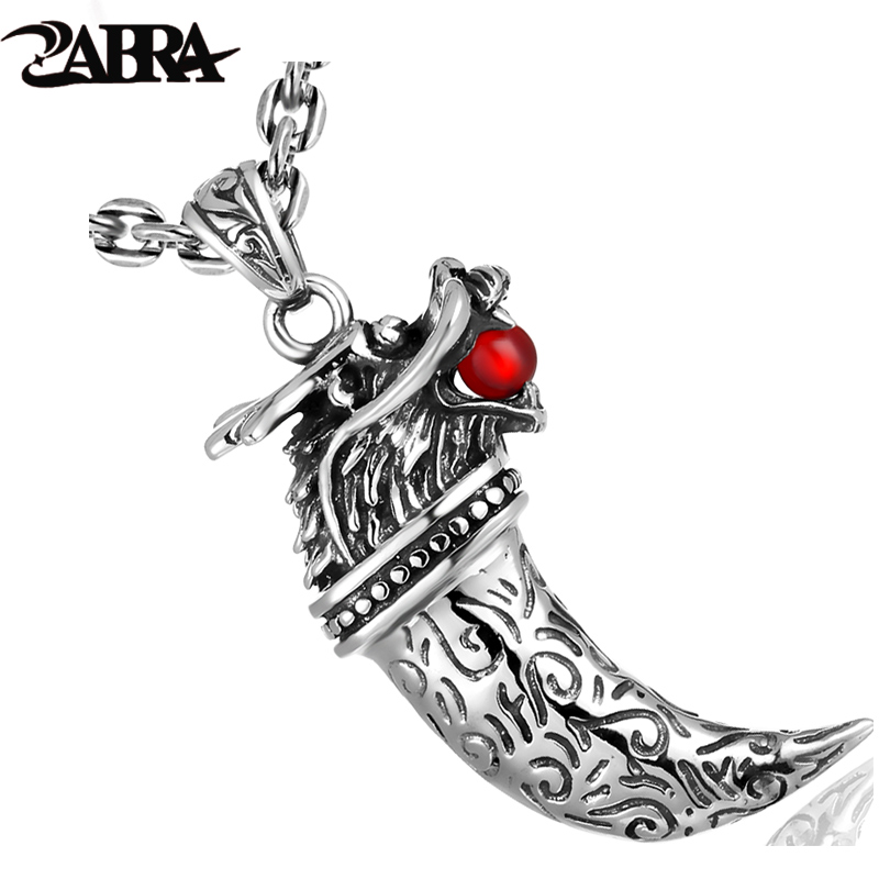 ZABRA Dragon Head Bite Red Stone Wolf Fang Vintage Pendant Men Steampunk Retro 925 Sterling Silver