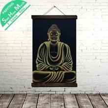 купить!  Золотая оправа Будда Свиток Живопись Старинные Холст Плакат и Печать Wall Art Pictures Гостиная