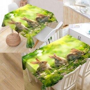 Image 4 - New Arrival niestandardowy królik obrus wodoodporna tkanina Oxford prostokątny obrus Home obrus na imprezę