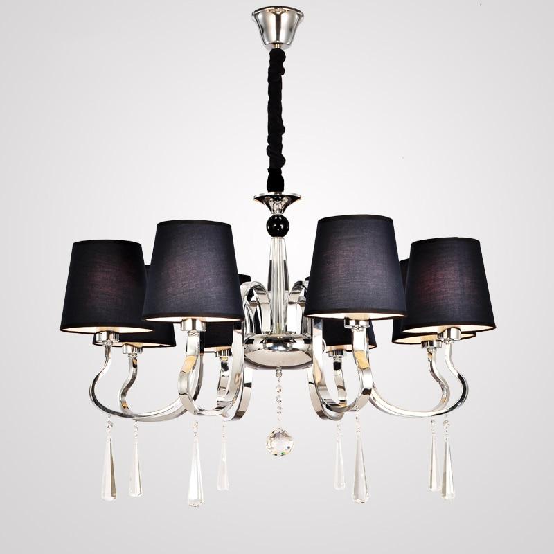 US $74.73 29% OFF|Moderne Kronleuchter Schwarz Stoff Lampenschirm  Kronleuchter Moderne Beleuchtung Wohnzimmer Licht Hohe Qualität Metall  Farbe in ...