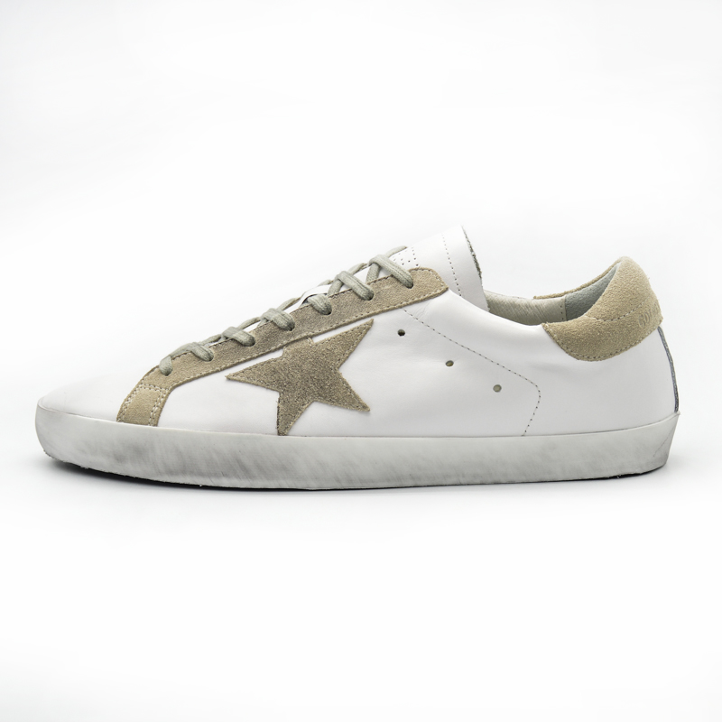 Original Italy Deluxe Brand White Casual Golden Shoes Genuine Leather Lace-Up Bass Smile Goose Shoes Scarpe Uomo Chaussure 2016 hogan scarpe uomo