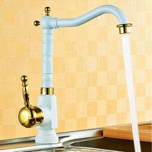Белый краска + золото кухня faucets латунь лебедь кран кухня умывальник миксер краны, Torneira misturadora де cozinha