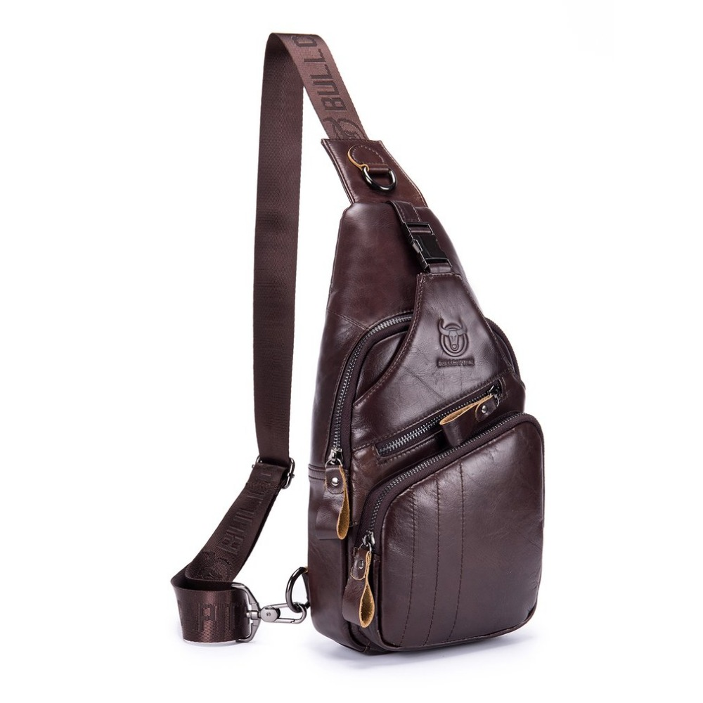 Men Fashion Genuine Leather Crossbody Bags Male Brand Small Shoulder Bag Casual Mens Music Chest Bags For Boy ZX373902