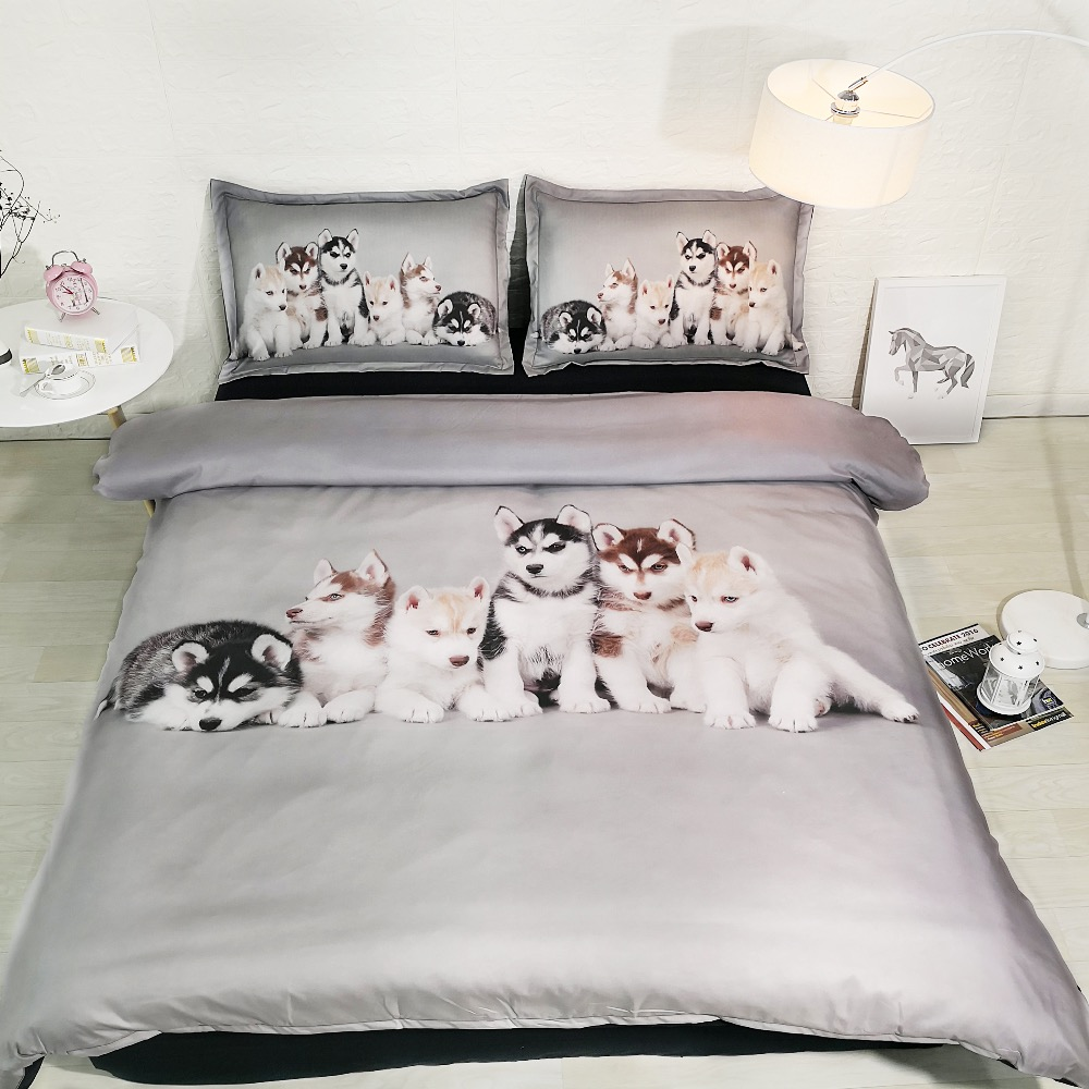 Royal Linen Source Brand Husky Babies Three Piece Duvet Cover Set Lovely Dogs Boys and Girls Bed Cover Bed Linens