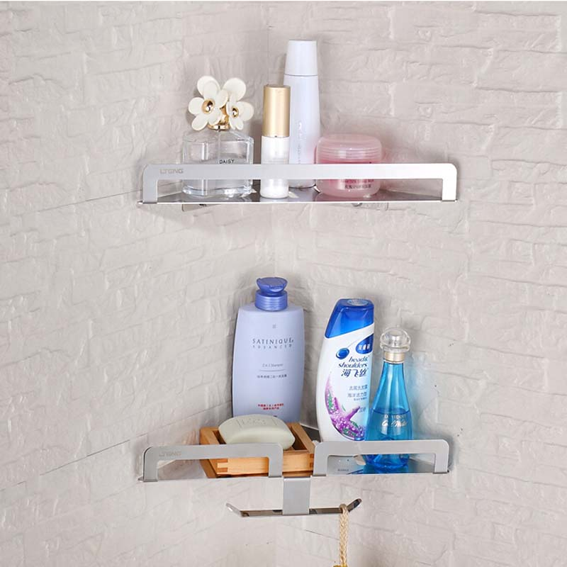 Wholesale And  Retail Stainless Steel Bathroom Shelf Dual Tiers Wall Mounted Corner Storage Holder W/ Hooks Hangers 10lb 500pcs picture frame wall hangers hooks brass plated wholesale