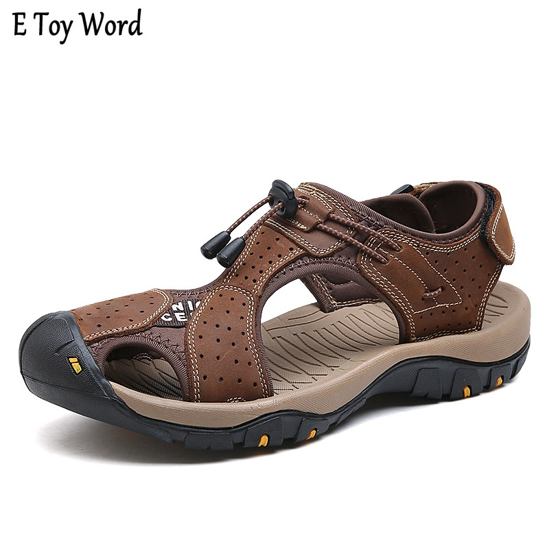 Men Sandals Genuine Leather Cowhide Male Summer Shoes Outdoor Beach Slippers Casual Suede Leather Gladiator Sandals Plus Size 44