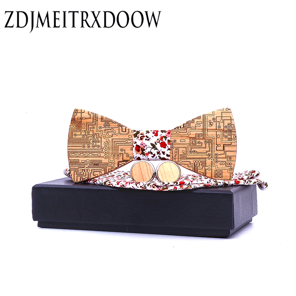 Integrated Circuit Board Gentleman Bow Ties Handmade Butterfly Wedding Party Bow Ties Butterfly Wooden Tie For Man Set