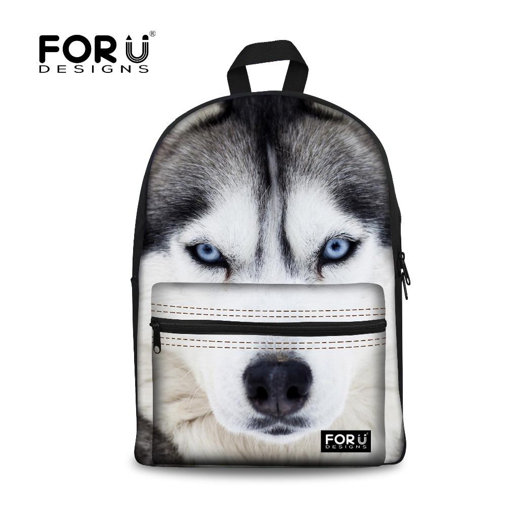 3D Anifeiliaid Argraffu Backpack Merched Cynfas Baciau Cŵn Plant White Wolf Kids Bagiau Ysgol Husky ar gyfer Merched yn eu Harddegau Mochila