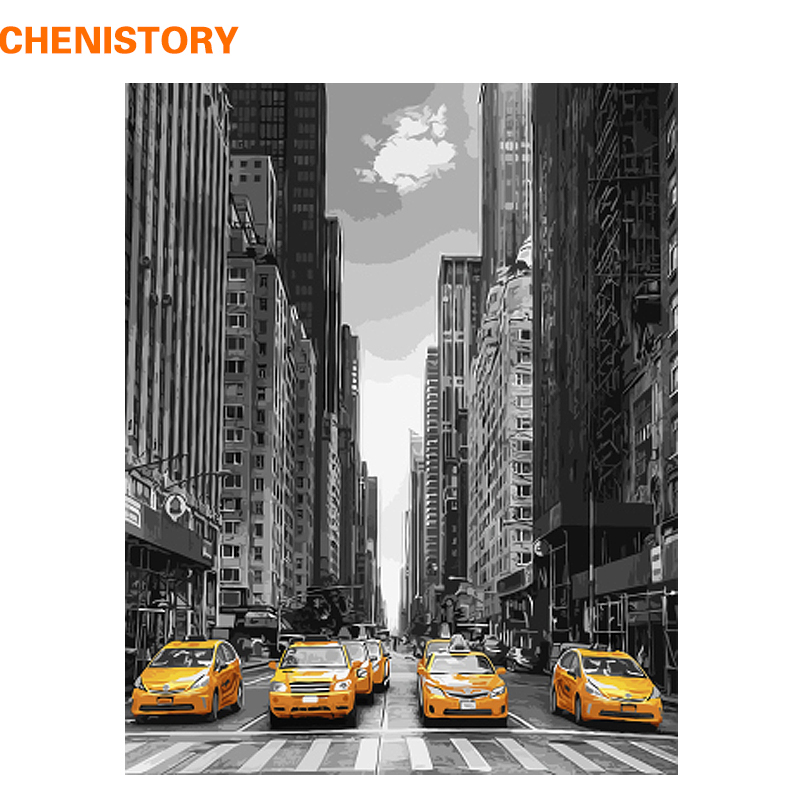 CHENISTORY No Framed Modern City Car DIY Painting By Numbers Landscape Wall Art Picture Coloring By Numbers Unique Gift For Home