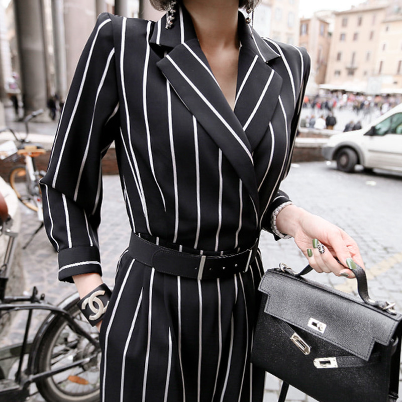 Notched Collar Sashes Striped   Jumpsuit   Elegant Black Women Work Business Loose Pant   Jumpsuits   Slim Waist Long Playsuit 2019