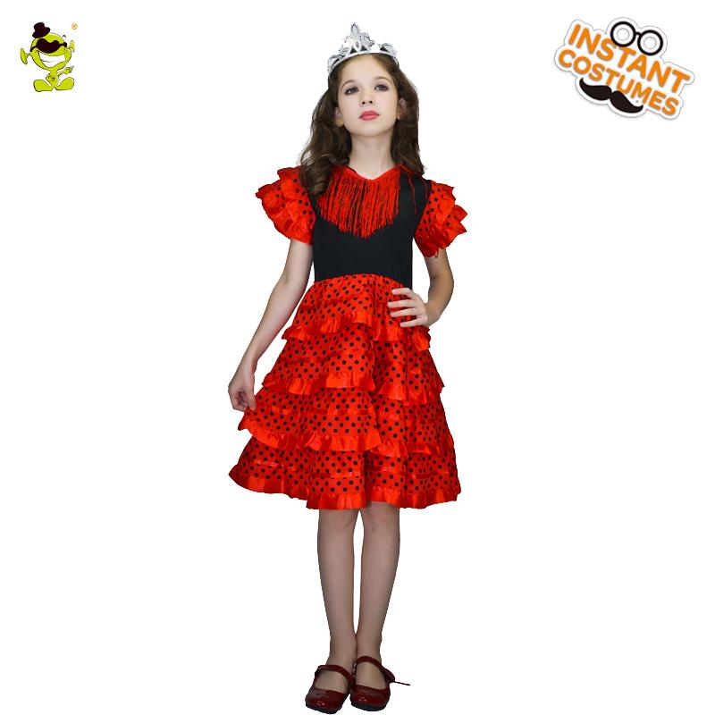 b6eb3d41f160 Elegante Rosso Della Principessa Costumi con Puntini Neri bambini Nobile  Spagnolo Queen Mostra Vestiti per Halloween