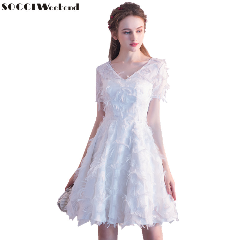 SOCCI Weekend White Cocktail Dress 2018 New Short Women A Line Dresses The Bridal Lace Elegant Formal Prom Party Gowns Robe De