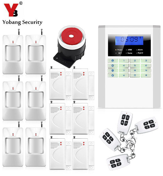 YobangSecurity Wireless 433MHz GSM PSTN Alarm System Russian Spanish Czech Voice Prompt Wired Home Burglar Security Alarm System